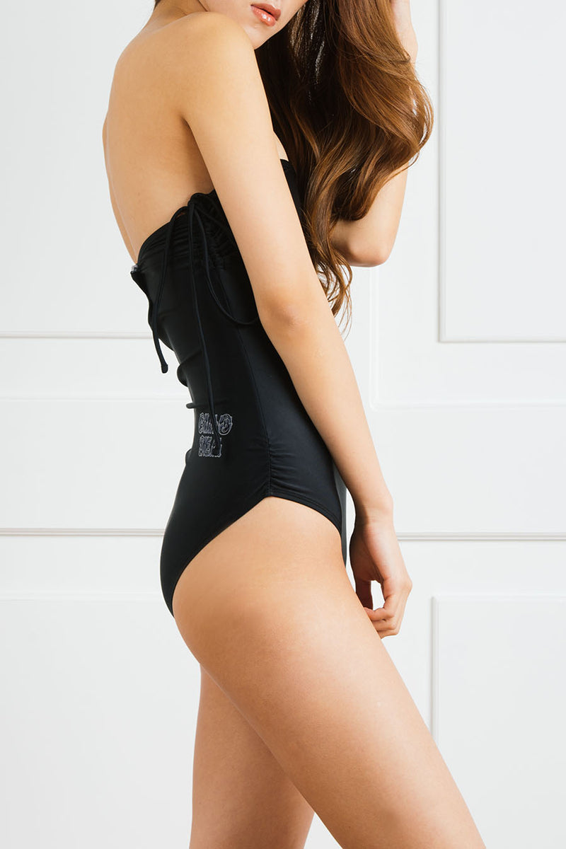 Logoed Strapless One-Piece