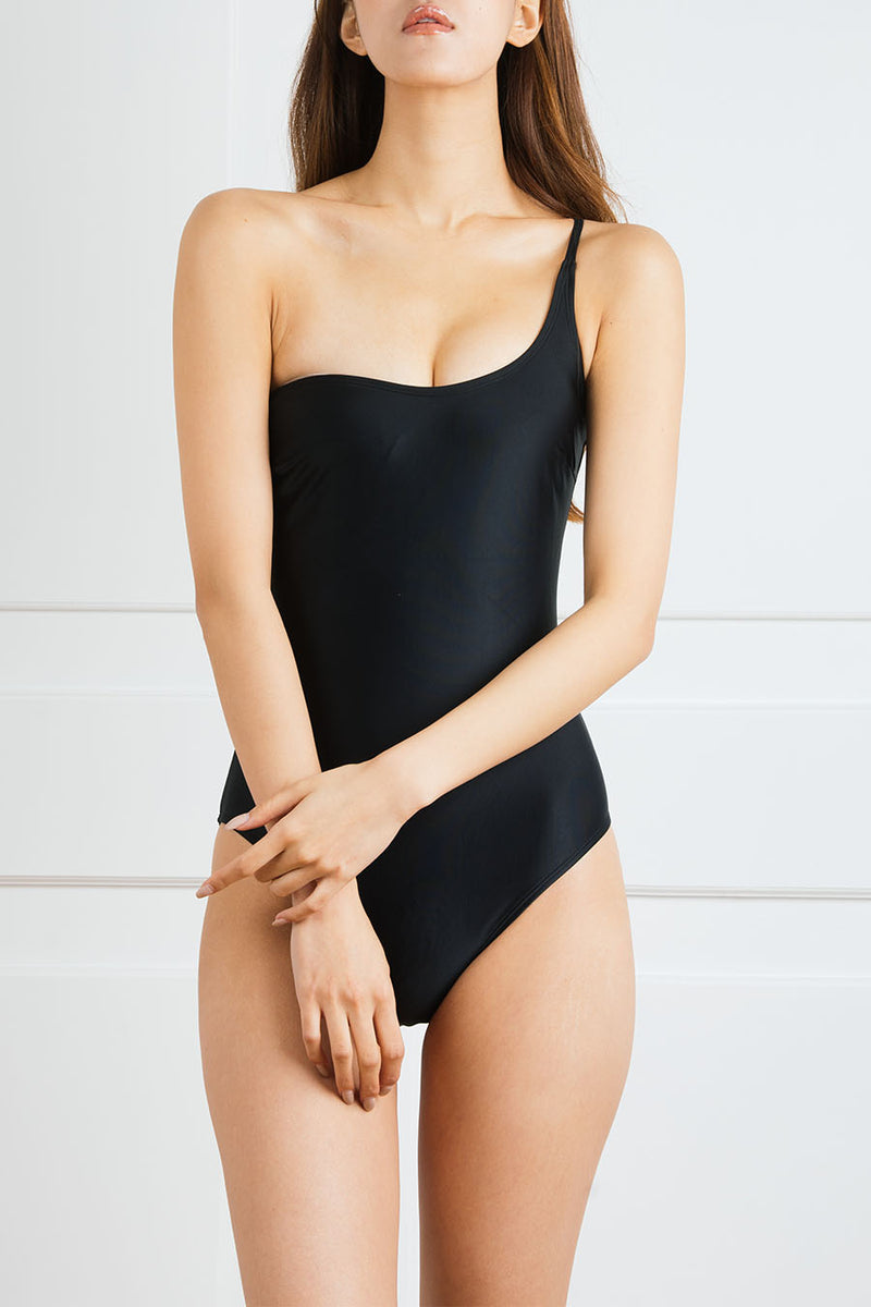 Black Asymmetrical One-Piece