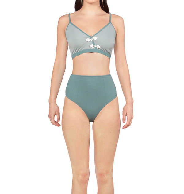 Embroidered two-piece swimsuit