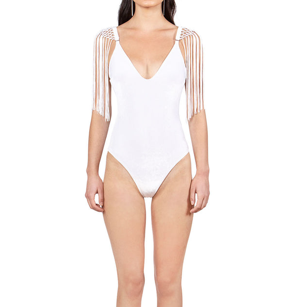 Bodysuit with tassels
