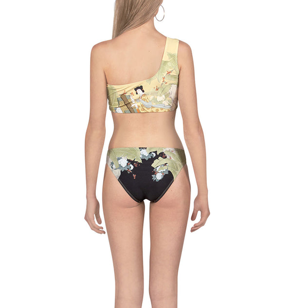 Chinese print two-piece swimsuit