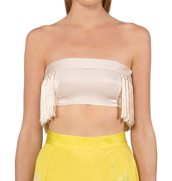 Tube top with tassels