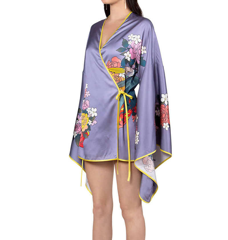 Flower print short robe