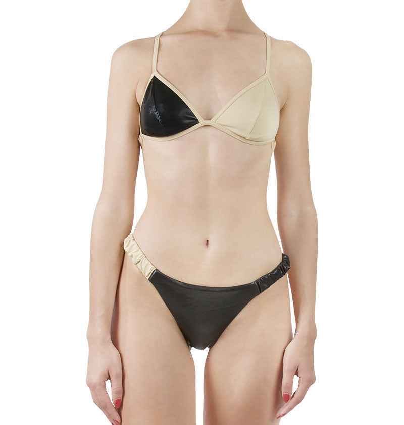 Colour block bikini top and bottom with elastic