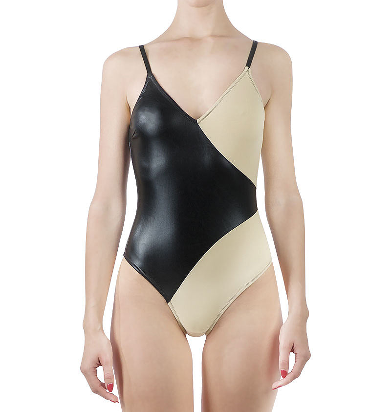 Colour block v-neck one-piece