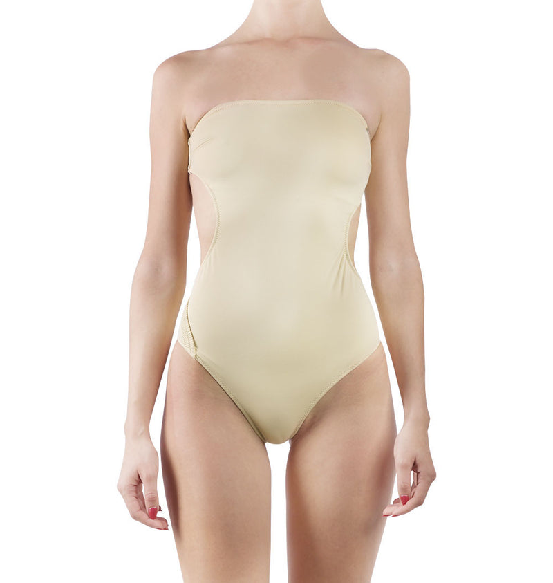Nude strapless one-piece with open back