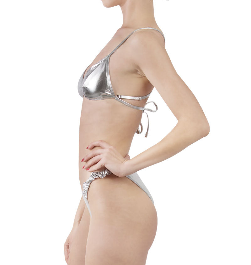 Reflective bikini top and bottom with elastic