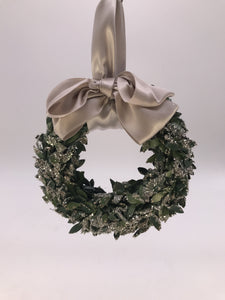 Boxwood Wreath Ornament - Silver