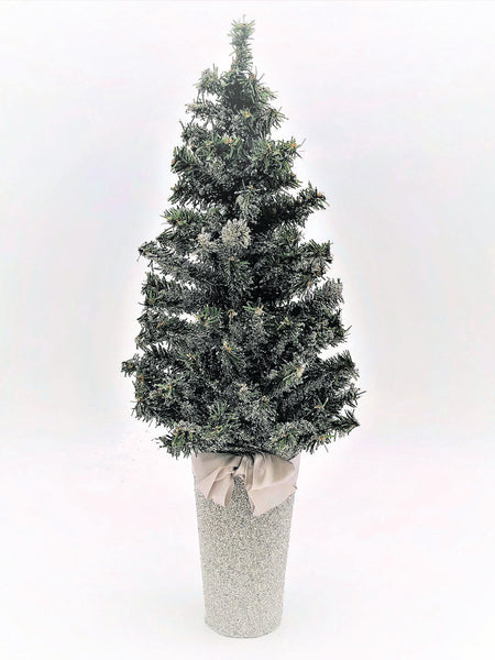 "Pine Tree in Bucket, 7 x 17"" Tree - Silver"