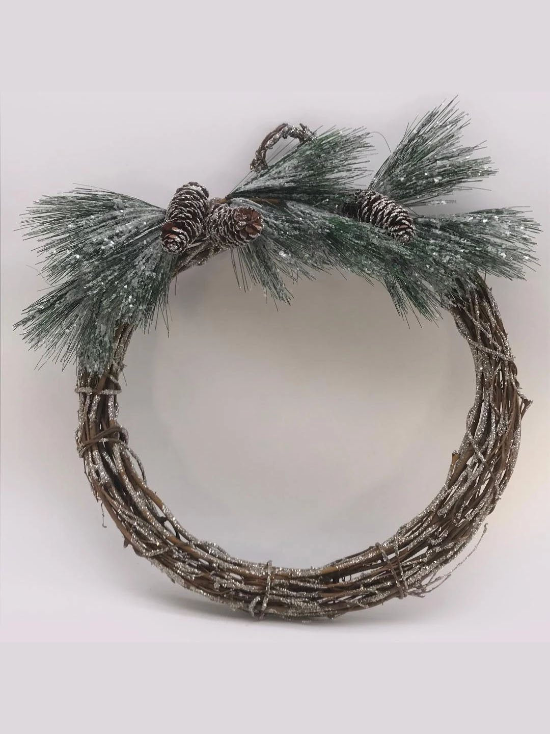 "Twig and Pinecone 18"" Wreath - Ice"