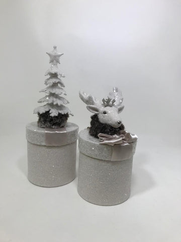 "Round 3.75"" X 6"" Box with Deer - Dove"