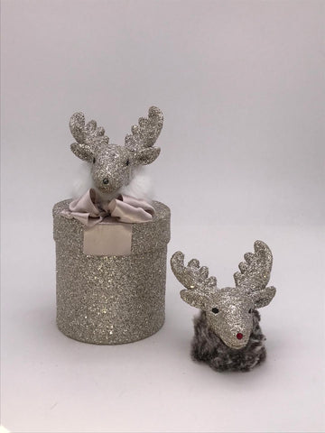 "Round 3.75"" x 6"" Box with Deer - Silver"