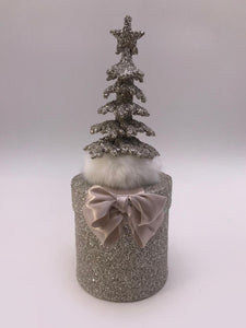 "Round 3.75"" X 10"" Box with Tree - Silver"