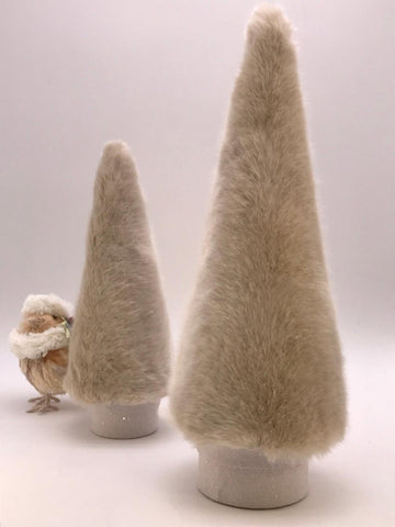 "Fur Covered 12"" Tree - Fawn"