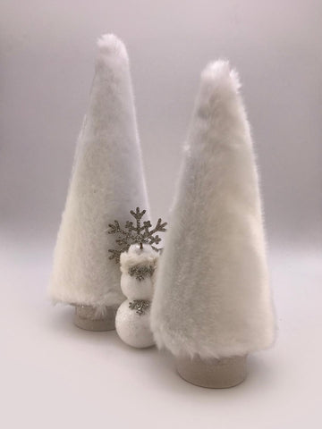 "Fur Covered  16"" Tree - Snow"