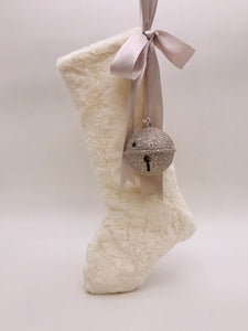 "Stocking with Jingle Bell 18"" - Bisque Fur"