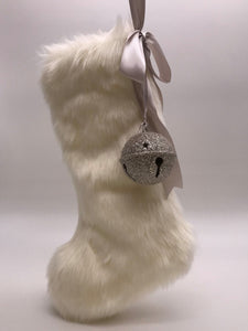 "Stocking with Jingle Bell 18"" - Cream Fur"