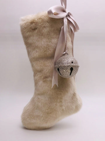 "Stocking with Jingle Bell 18"" - Fawn Fur"
