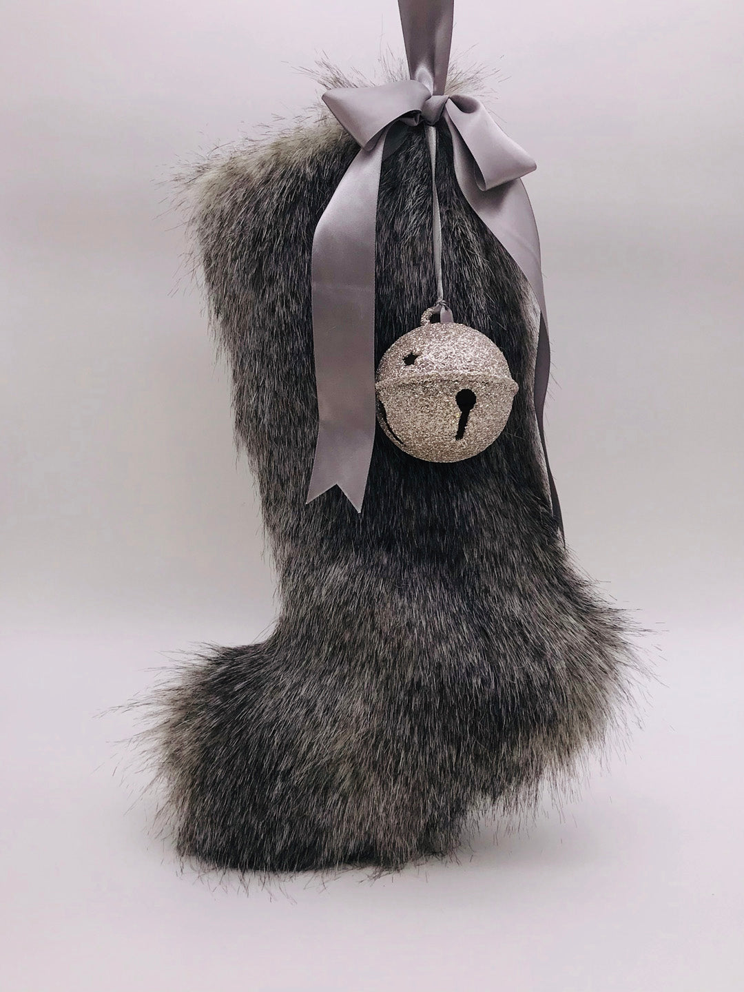 "Stocking with Jingle Bell 18"" - Gray Fur"
