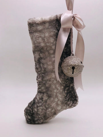 "Stocking with Jingle Bell 18"" - Mink Fur"