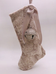 "Stocking with Jingle Bell 18"" - Oatmeal Fur"