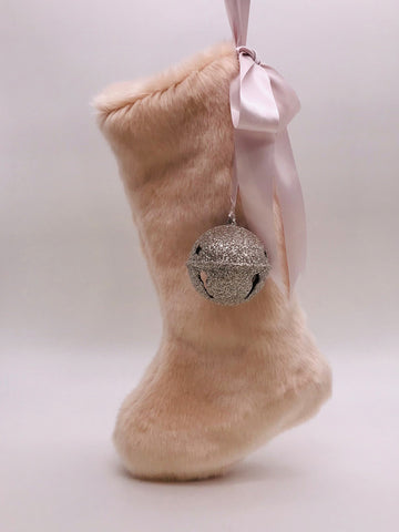 "Stocking with Jingle Bell 18"" - Pink Fur"