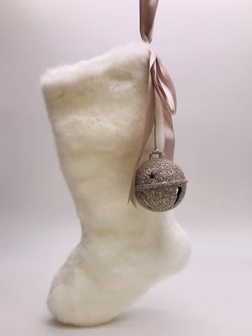 "Stocking with Jingle Bell 18""  - Snow Fur"