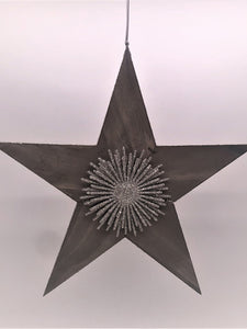 "Hanging Rustic Star with Starburst 15"" - Silver"