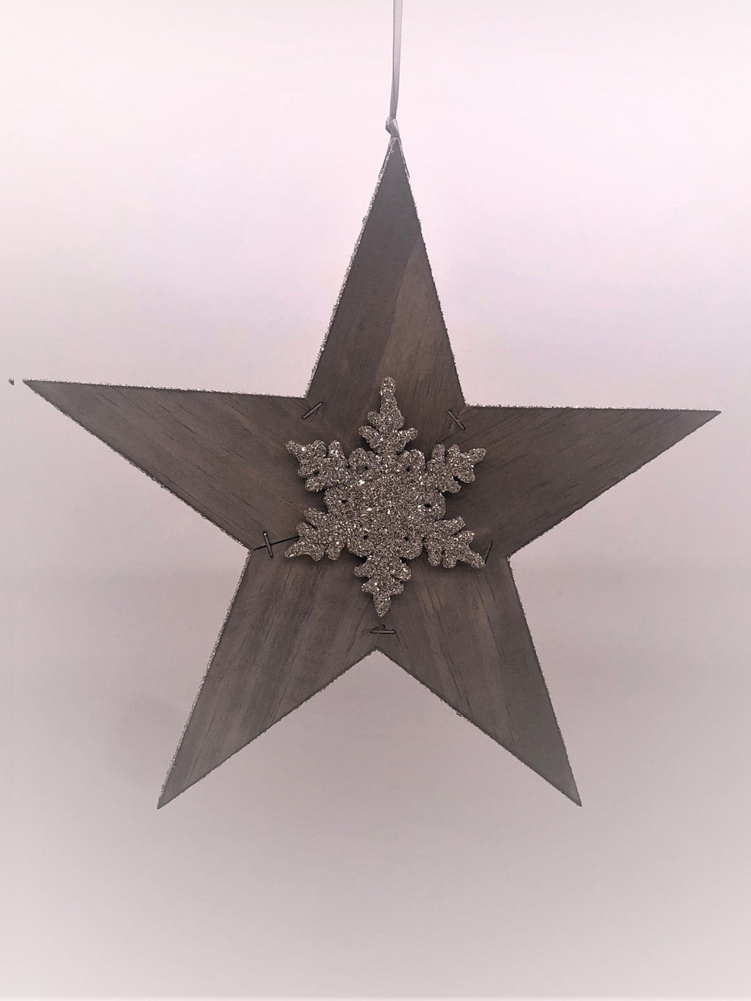 "Rustic Star with Snowflake 12"" - Silver"