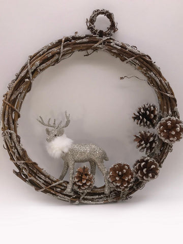 "Deer Twig 18"" Wreath - Silver"
