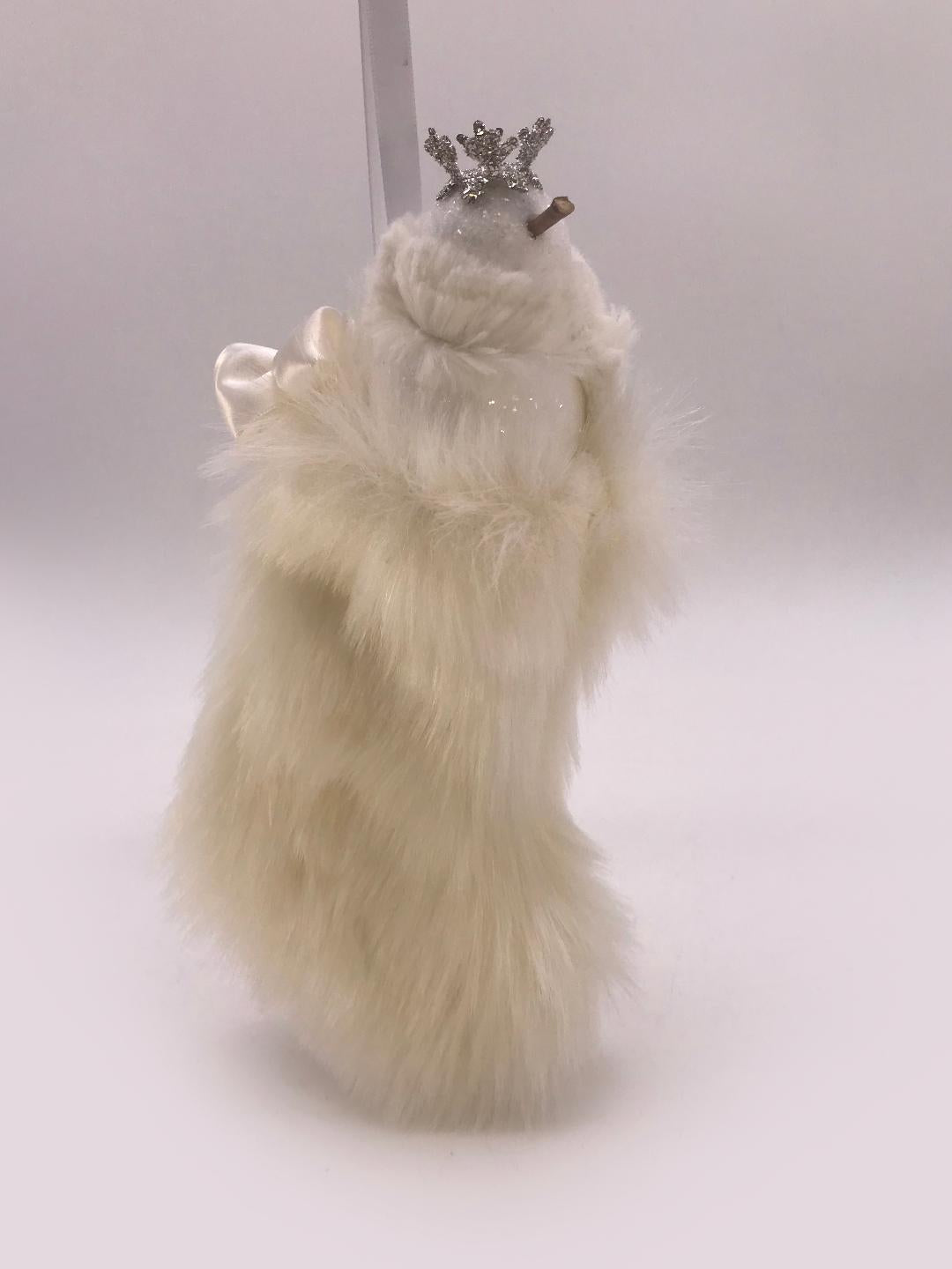 Stocking with Snowman Ornament - Cream Fur