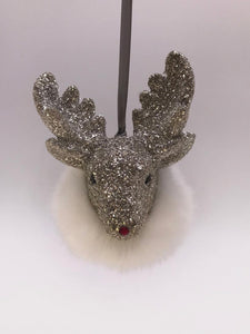 Rudy Ornament - Silver, Snow Fur