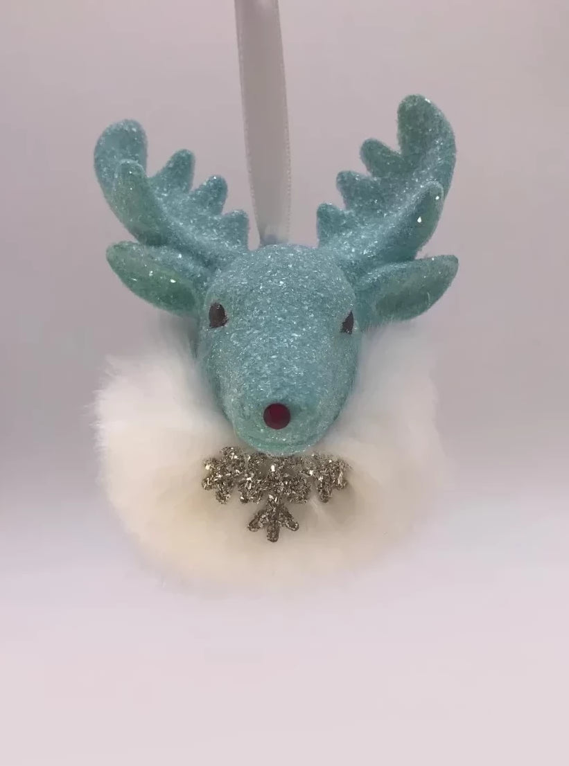 Rudy Ornament - Turquoise, Snow Fur