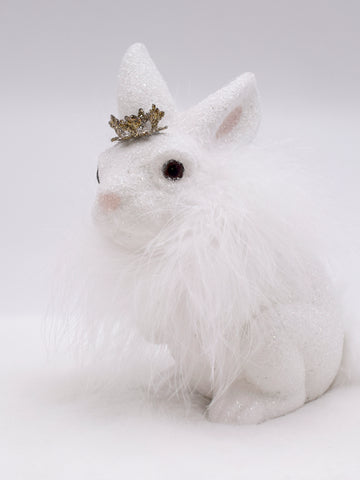 Bunny with Boa - White