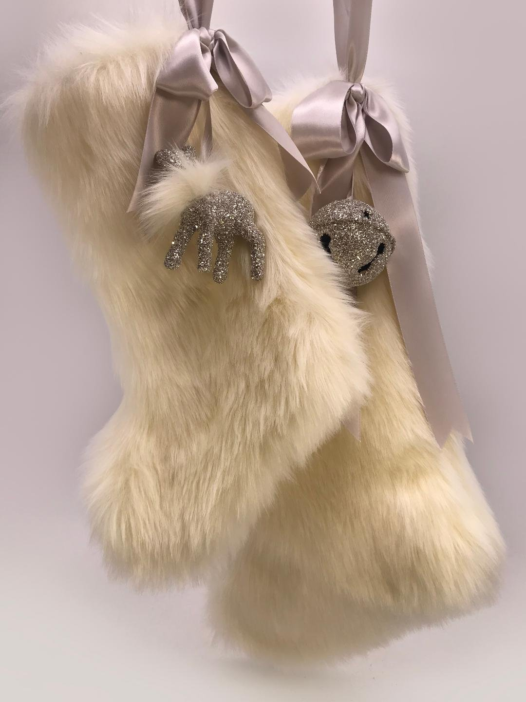 "Stocking with Fawn 10"" - Cream Fur"