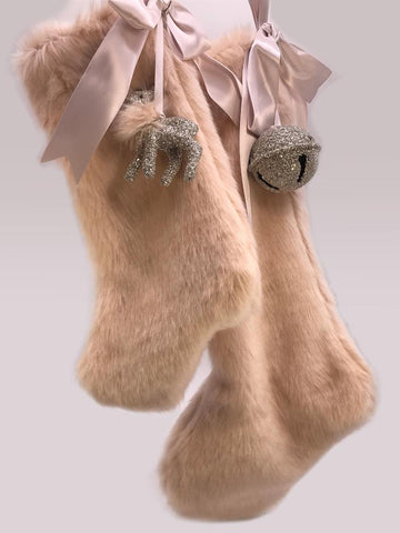 "Stocking with Fawn 10"" - Silver, Pink Fur"