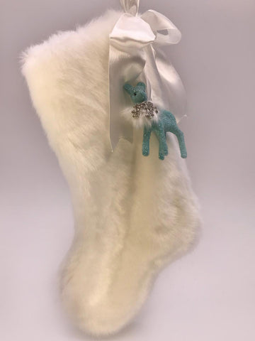 "Stocking with Fawn 10"" -  Turquoise, Snow Fur"