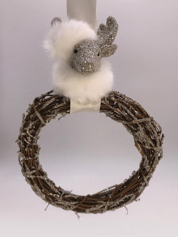 "Deer Twig 8"" Wreath - Silver, Snow Fur"