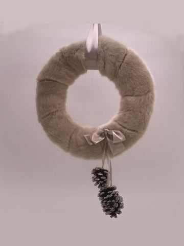 "Fur and Pinecone 12"" Wreath - Fawn Fur"