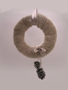 "Fur and Pinecone 18"" Wreath - Fawn Fur"