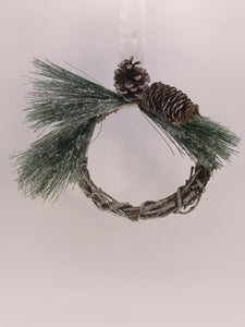 "Twig and Pinecone 8"" Wreath - Ice"