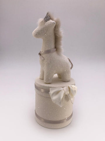 "Giraffe Round 4"" x 8.75"" Box - Cream"