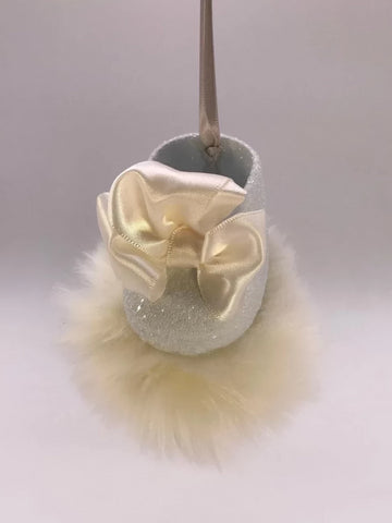 Baby Shoe Pouf Ornament - Powder Blue