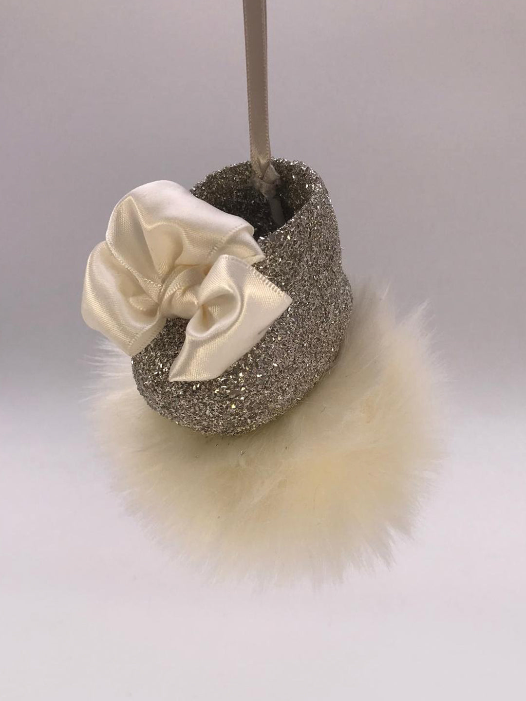 Baby Shoe Pouf Ornament - Silver