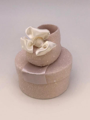 "Baby Shoe Short Round  3"" x 3.5"" Box- Blush"