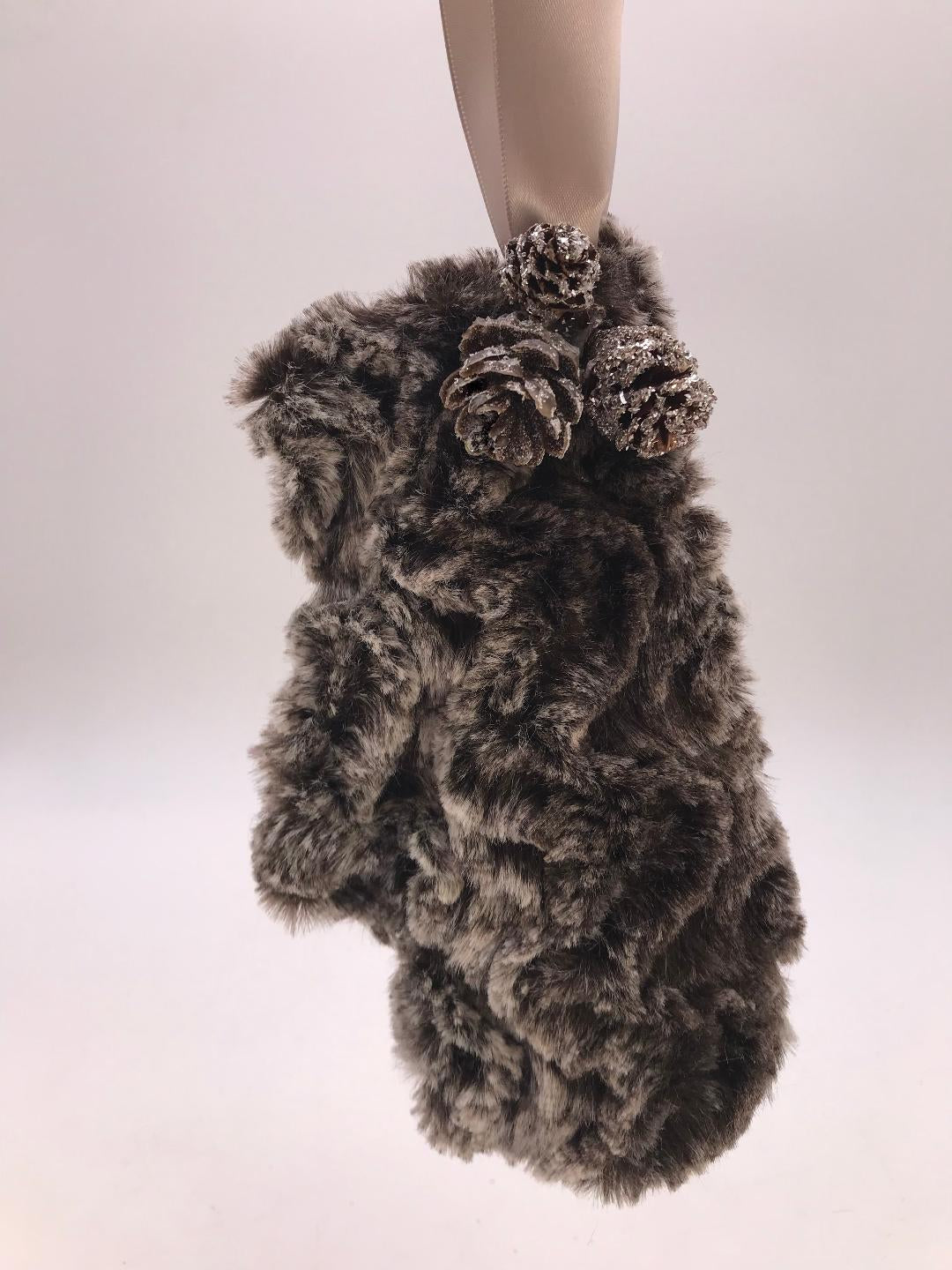 Mitten with Tiny Pinecones Ornament - Ash Fur
