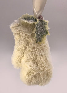 Mitten with Holly Ornament - Bisque Fur