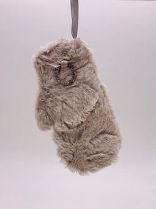 Mitten with Tiny Wreath Ornament - Oatmeal Fur