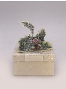 "Square 3"" x 3""  Holly Box - Cream"