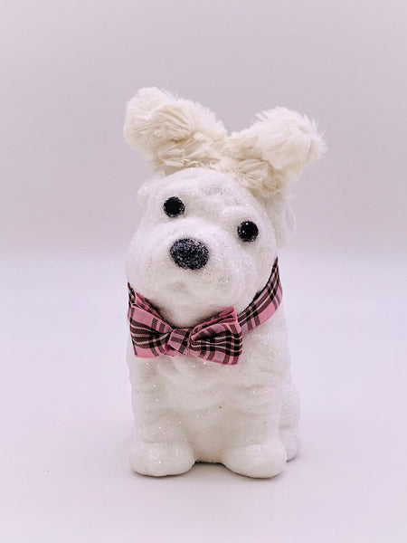 Lucy Dog with Gingham Bow - Cream